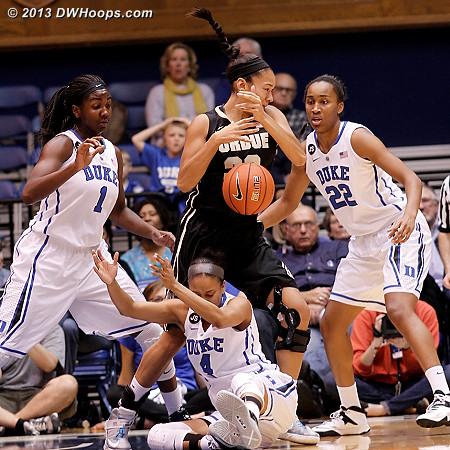 Duke defensive chaos swallows up Whitney Bays, but Purdue leads 18-12  - Duke Tags: #1 Elizabeth Williams , #4 Chloe Wells, #22 Oderah Chidom