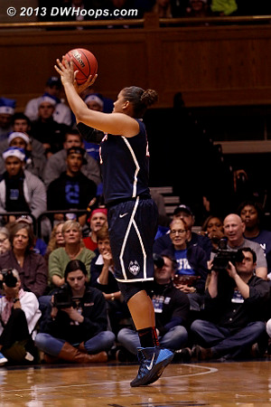 KML assumes her usual (for tonight) wide open position.  Returning from an elbow injury, she was 7-11 from the field, all threes.  - CONN Players: #23 Kaleena Mosqueda-Lewis