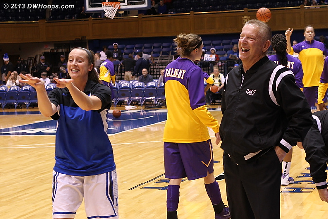 Jenna clowns around with Joe Cunningham before the game