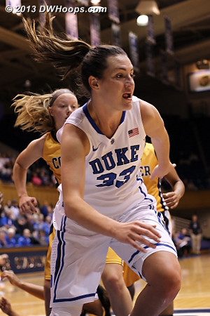 Haley getting after a loose ball in the paint  - Duke Tags: #33 Haley Peters