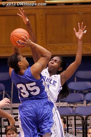 Elizabeth Williams asserts her defensive advantage