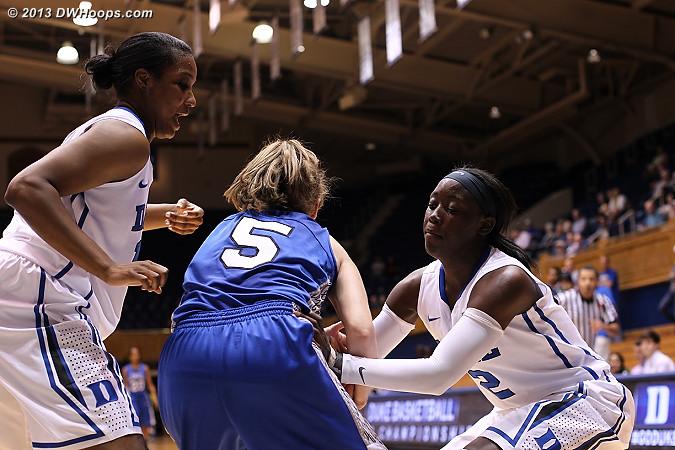 The swarming Duke press yields a turnover  - Duke Tags: #2 Alexis Jones, #15 Richa Jackson