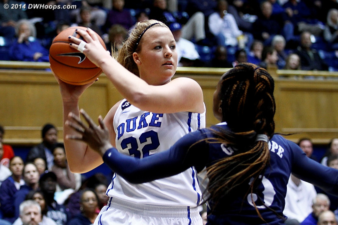 Tricia Liston looks to pass over Galaisha Goodhope, a high school teammate of Elizabeth Williams  - Duke Tags: #32 Tricia Liston
