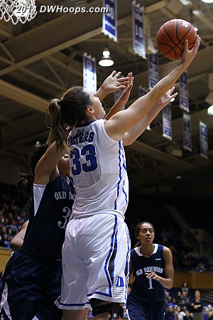 Haley Peters scores on a reverse layup as Duke takes a 30-18 lead  - Duke Tags: #33 Haley Peters