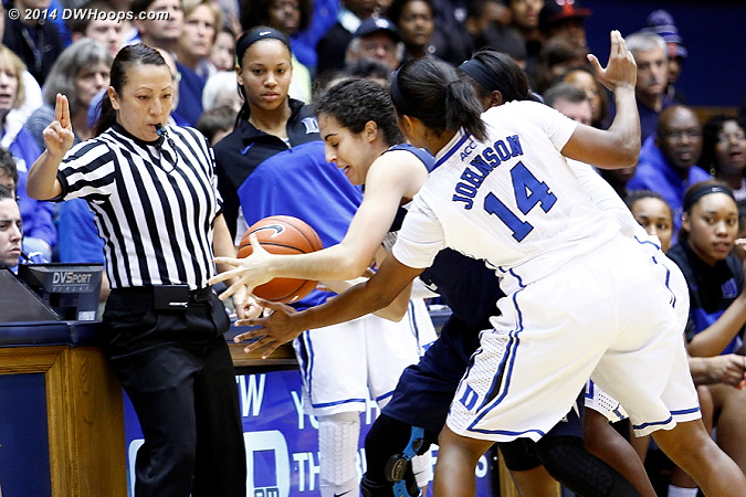 Duke's defense forces Michelle Brandao to ask referee Cameron Inouye for a time out