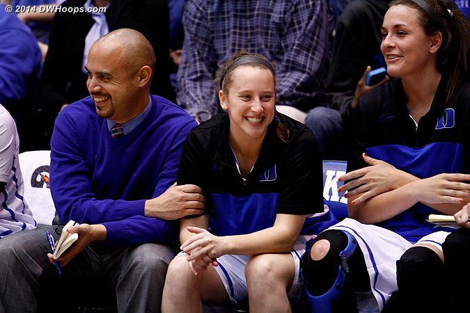 Fun on the Duke bench as the game is out of reach  - Duke Tags: #35 Jenna Frush, Hernando Planells, #23 Rebecca Greenwell