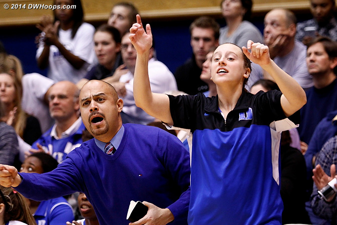 During a Duke press off a made free throw  - Duke Tags: #35 Jenna Frush, Hernando Planells