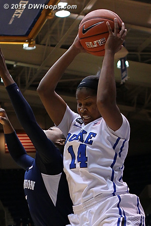 Ka'lia Johnson grabs a rebound  - Duke Tags: #14 Ka'lia Johnson