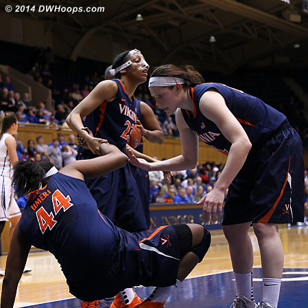 ACCWBBDigest Photo  - UVA Players: #14 Lexie Gerson, #23 Ataira Franklin, #44 Sydney Umeri