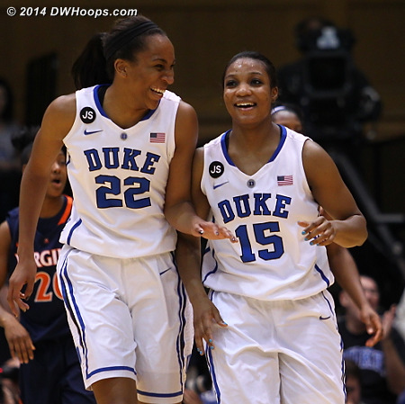 Good times for Duke as they're rolling to a 24 point first half lead  - Duke Tags: #15 Richa Jackson, #22 Oderah Chidom