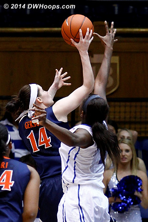 Gerson scores past Williams, 66-38 Duke  - Duke Tags: #1 Elizabeth Williams  - UVA Players: #14 Lexie Gerson