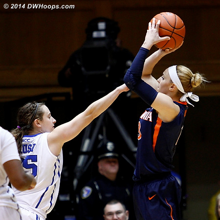 ACCWBBDigest Photo  - Duke Tags: #35 Jenna Frush - UVA Players: #13 Tiffany Suarez