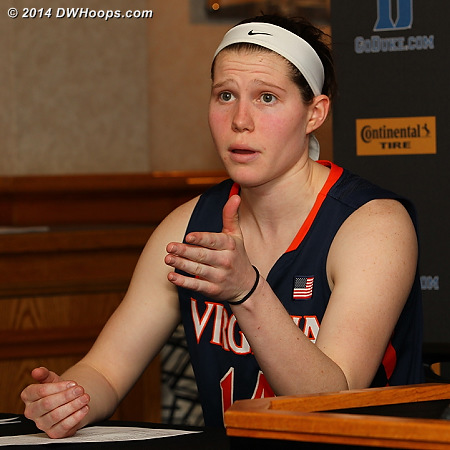 Win or lose, Lexie Gerson is one of the best interviews in the ACC.  Rob asked her what she would do as a team leader in the face of this loss, she replied,