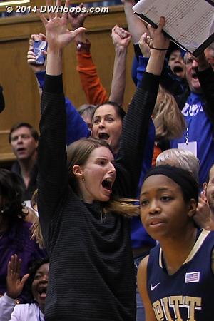 Duke ACC Legend Michele Van Gorp celebrates a three pointer by walk-on Jenna Frush
