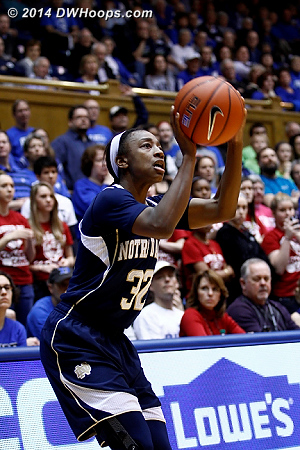 Loyd's trey was the first of three unanswered for the Irish, starting an 11-0 run that gave them a working margin  - ND Players: #32 Jewell Loyd