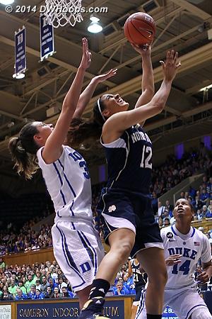 Reimer goes hard to the basket  - Duke Tags: #33 Haley Peters - ND Players: #12 Taya Reimer