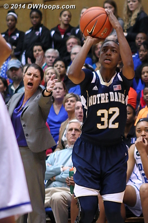To the displeasure of coach McCallie, Loyd hits an open three to give Notre Dame a 35-23 lead  - Duke Tags: Joanne P. McCallie  - ND Players: #32 Jewell Loyd