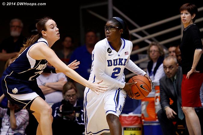 DWHoops Photo  - Duke Tags: #2 Alexis Jones - ND Players: Head Coach Muffet McGraw, #23 Michela Mabrey