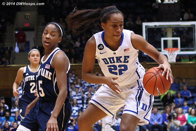 DWHoops Photo  - Duke Tags: #22 Oderah Chidom - ND Players: #15 Lindsay Allen