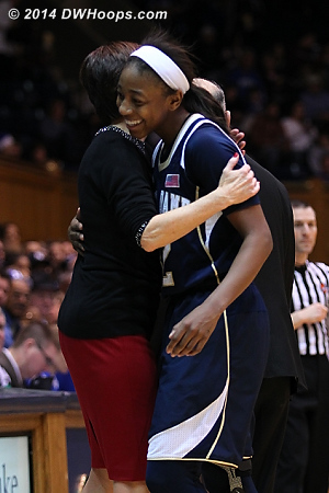 Loyd comes out of the game  - ND Players: Head Coach Muffet McGraw, #32 Jewell Loyd