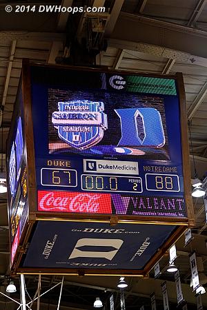Ballgame - Notre Dame 88, Duke 67 - ending Duke's 42 game ACC home court winning streak
