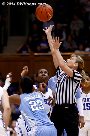 Dee tosses up the opening tip  - Duke Tags: #1 Elizabeth Williams  - UNC Players: #23 Diamond DeShields