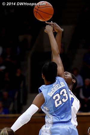 Carolina won the opening tip  - Duke Tags: #1 Elizabeth Williams  - UNC Players: #23 Diamond DeShields