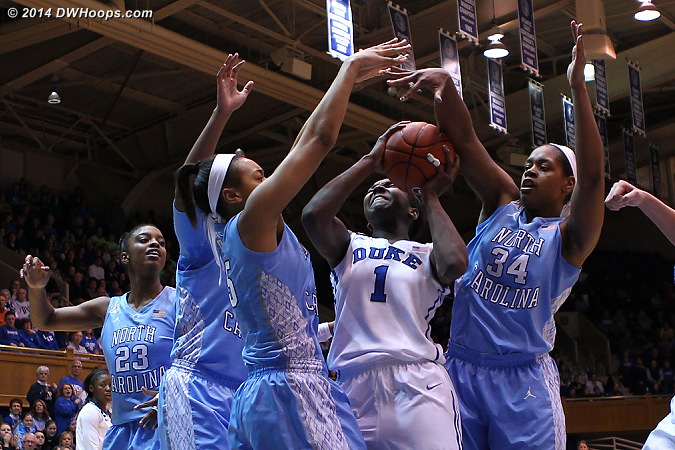 Surrounded by Tar Heels, Williams finds a way to score.  She notched a career high 28 in the loss.  - Duke Tags: #1 Elizabeth Williams