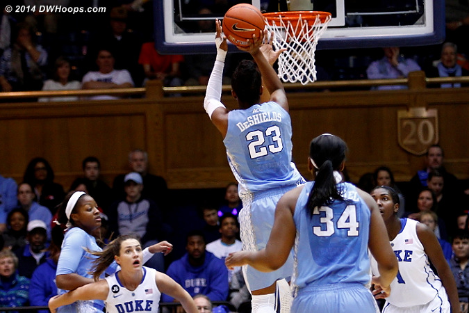 DeShields owned the straight-on shot tonight  - UNC Players: #23 Diamond DeShields