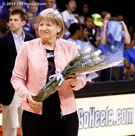 It was great to see Sylvia Hatchell on hand to honor the senior managers before the game, and her doctors at halftime.  It's unknown how soon she will return to the sidelines.  - UNC Players: Head Coach Sylvia Hatchell