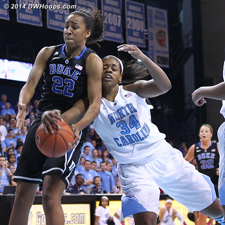 DWHoops Photo  - Duke Tags: #22 Oderah Chidom - UNC Players: #34 Xylina McDaniel