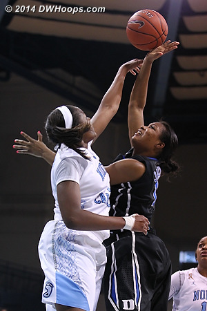 Rejection by Mavunga  - Duke Tags: #14 Ka'lia Johnson - UNC Players: #1 Stephanie Mavunga