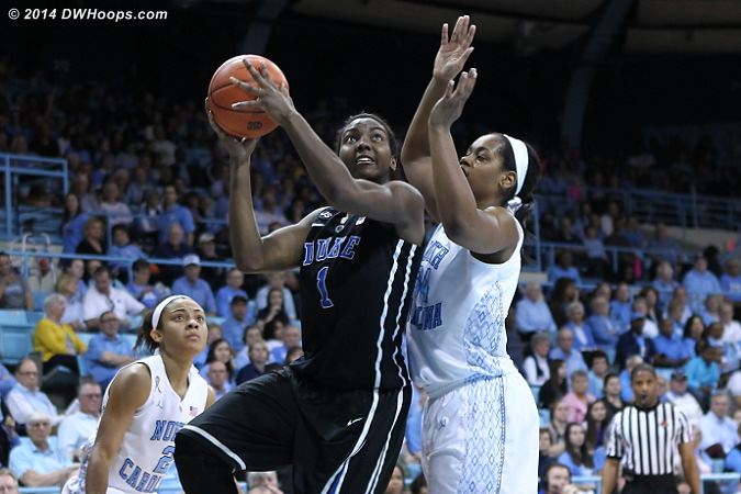 Even the simpler shots didn't fall during the UNC run  - Duke Tags: #1 Elizabeth Williams  - UNC Players: #34 Xylina McDaniel