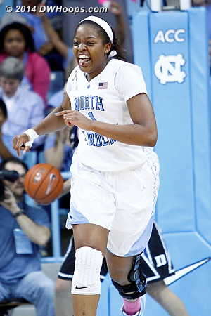 Celebrating a Heels basket  - UNC Players: #1 Stephanie Mavunga