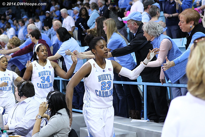 Victory Lap for the Tar Heels  - UNC Players: #23 Diamond DeShields, #34 Xylina McDaniel