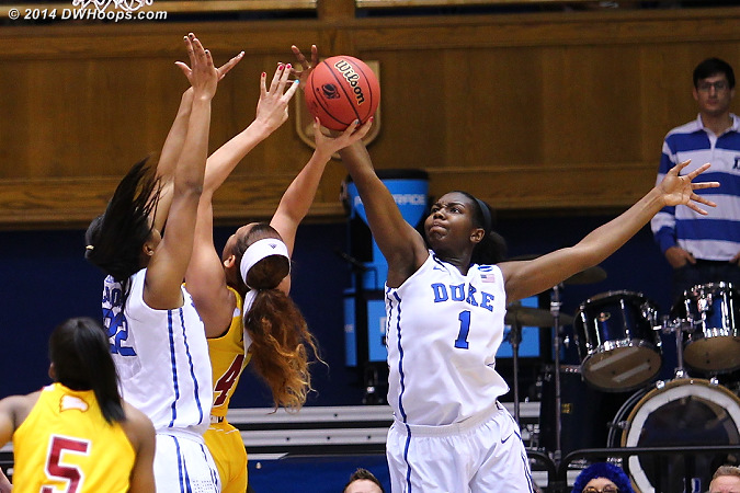 Duke's defense was smothering  - Duke Tags: #1 Elizabeth Williams , #22 Oderah Chidom
