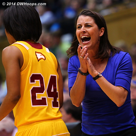 Winthrop called a time out after Duke stretched their lead to 15