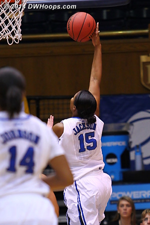 A nice fast break score gave Duke a 41-17 advantage at halftime  - Duke Tags: #15 Richa Jackson