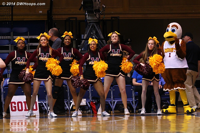The cheer squad and Winthrop mascot