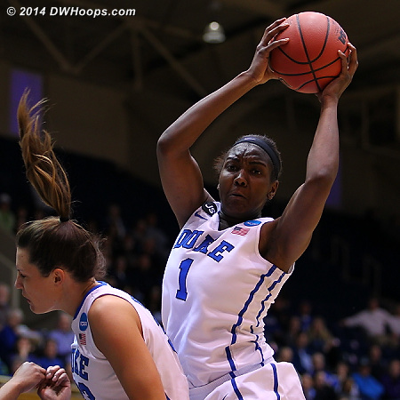 Williams grabs one of her game high ten rebounds  - Duke Tags: #1 Elizabeth Williams