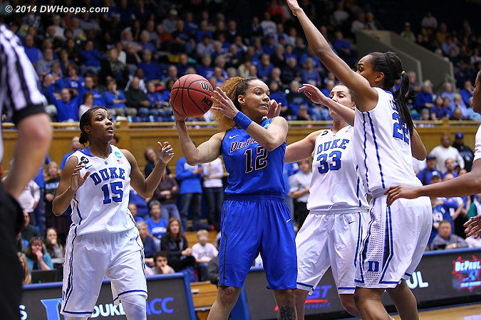 Four Duke defenders collapse on Hrynko, the kickout comes next...  - DEP Players: #12 Brittany Hrynko