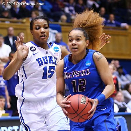 DWHoops Photo  - Duke Tags: #15 Richa Jackson - DEP Players: #12 Brittany Hrynko