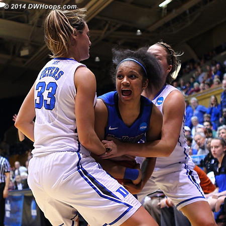 DePaul got the rebound and called an immediate time out  - Duke Tags: #32 Tricia Liston, #33 Haley Peters - DEP Players: #13 Chanise Jenkins