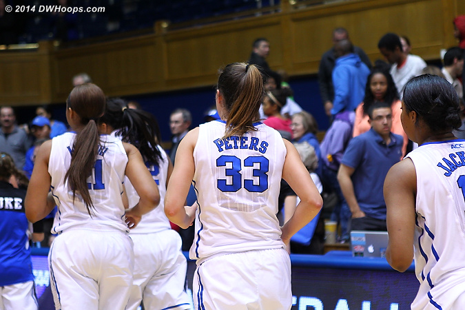 Haley Peters and Richa Jackson head off the floor for the last time at Duke.