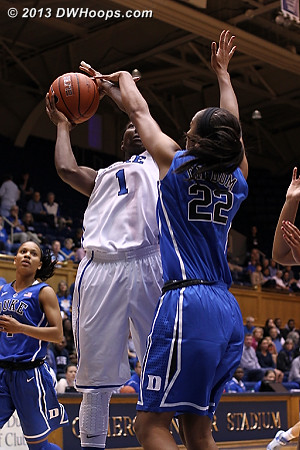 That's a foul  - Duke Tags: #1 Elizabeth Williams , #22 Oderah Chidom