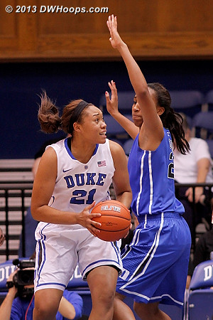 Kendall works on Oderah in the paint  - Duke Tags: #21 Kendall McCravey-Cooper, #22 Oderah Chidom