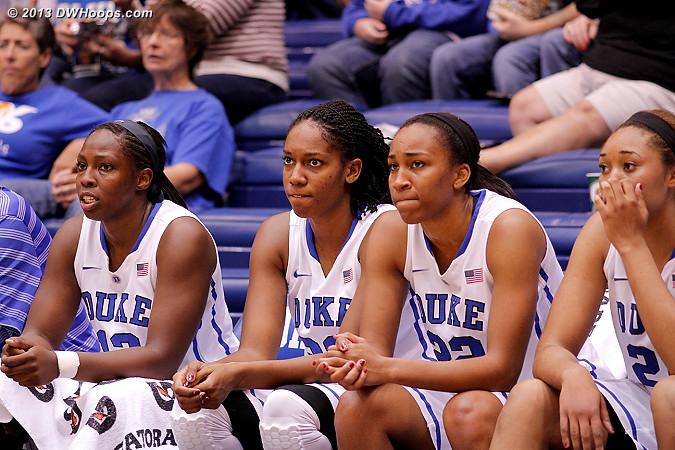 Duke bench  - Duke Tags: #12 Chelsea Gray, #30 Amber Henson, #21 Kendall McCravey-Cooper, #22 Oderah Chidom
