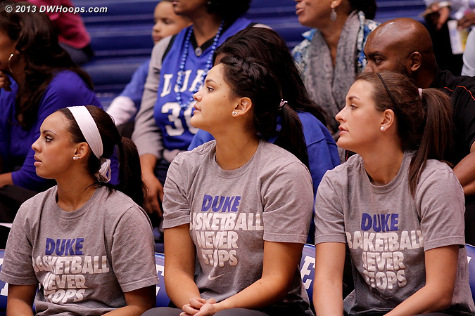 Duke bench - Holland, Heckman, and Greenwell - who did not participate  - Duke Tags: #5 Katie Heckman, #3 Kianna Holland, #23 Rebecca Greenwell