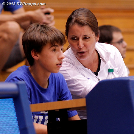 Coach P with son Jack on the sidelines.  Perhaps a future coach?  - Duke Tags: Joanne P. McCallie