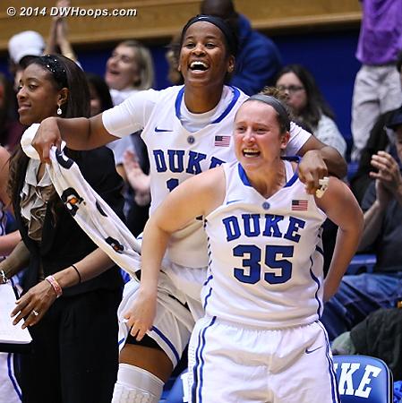 Bench celebration of Mathias being fouled  - Duke Tags: Duke Bench, #14 Ka'lia Johnson, #35 Jenna Frush